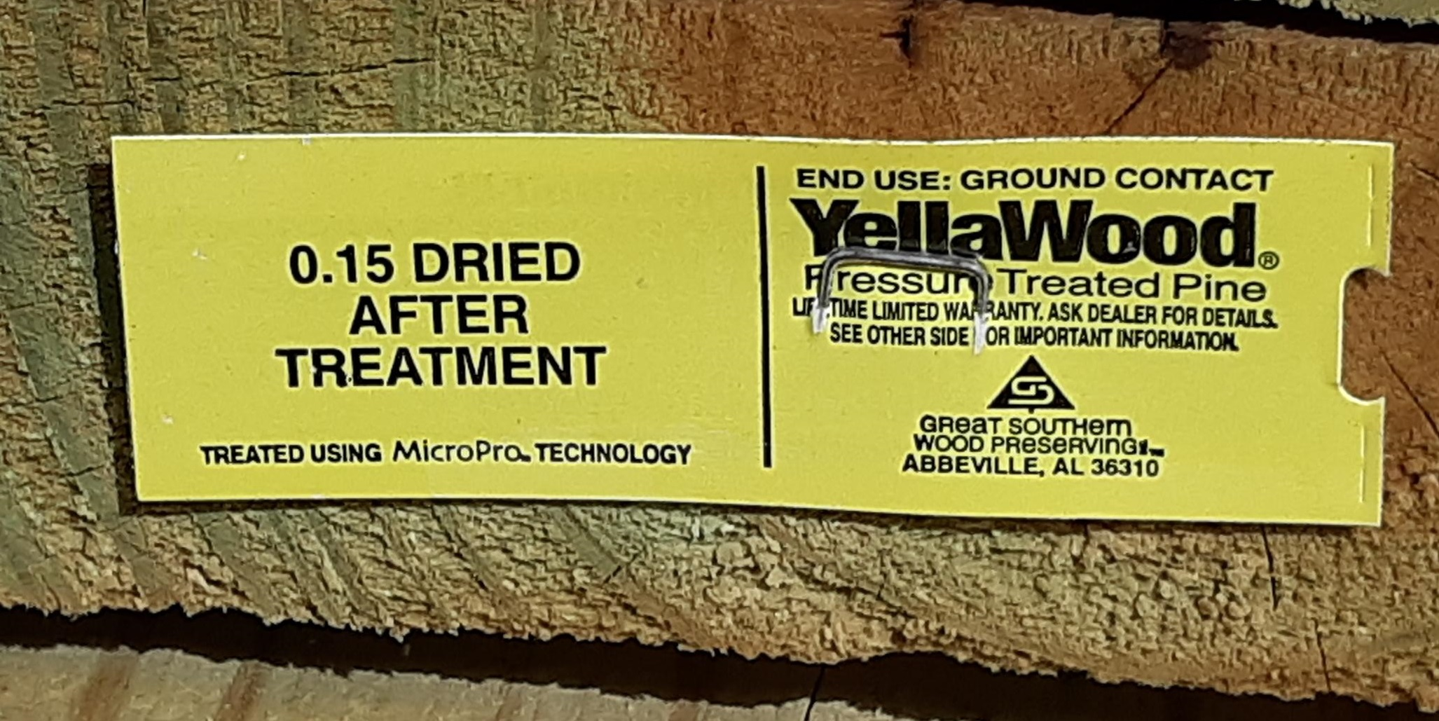 KDAT YellaWood Treated Lumber End Tag
