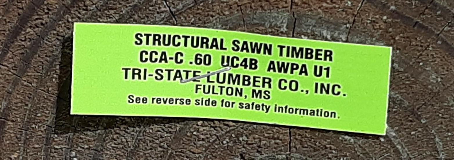 Wolmanized Treated Lumber End Tag