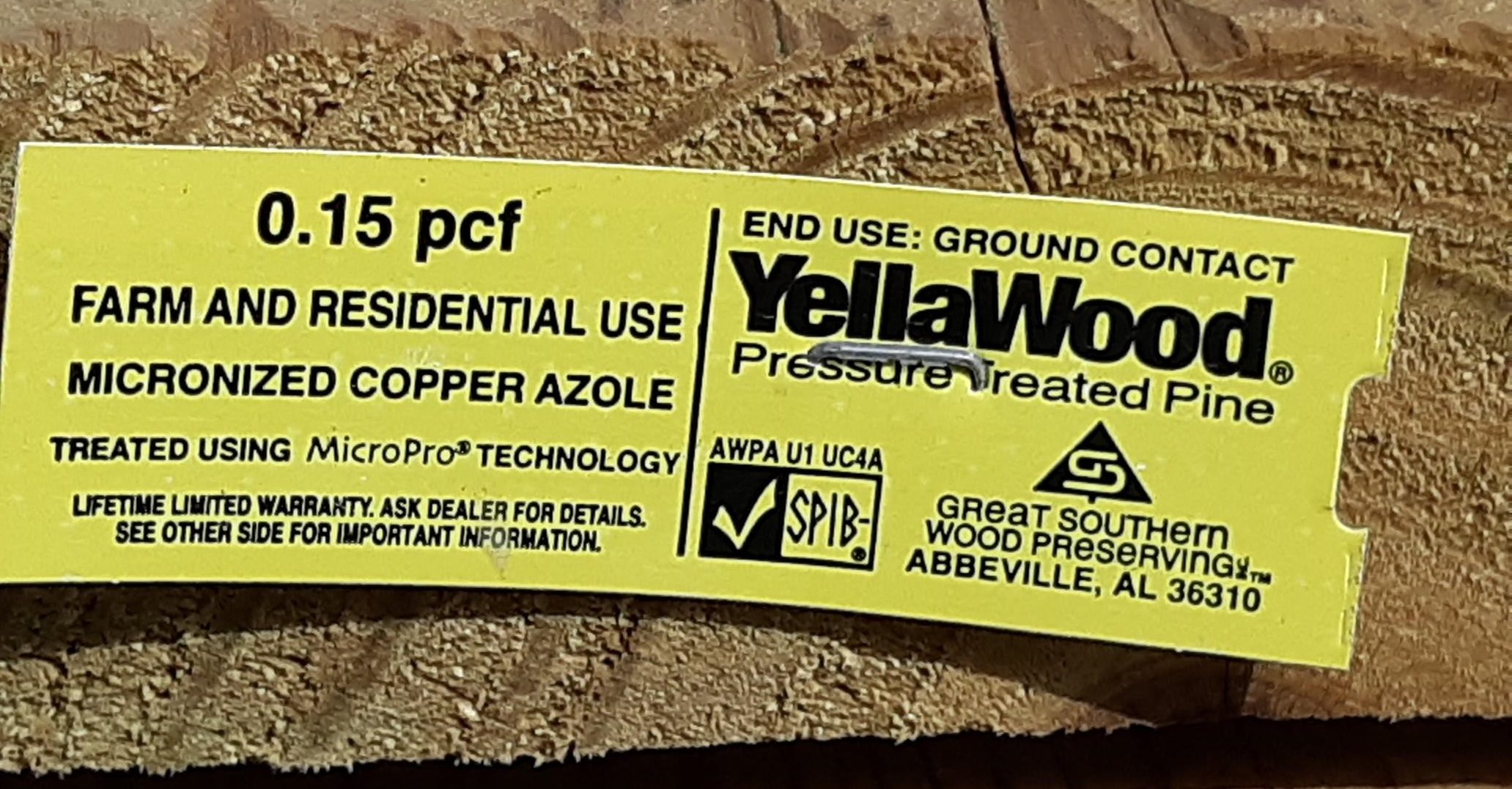 YellaWood Treated Lumber End Tag