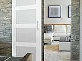 Masonite French C40 with Glazing Painted White Frosted Glass also known as a 4 Panel Door with Glass