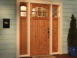 Woodgrain Knotty Alder 6 lite planked panel Craftsman door Sidelights 6826