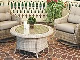 Cambria Collection Woven Wicker Patio Swivel Arm Chairs and Rotating Coffee Table