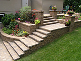 Versa-Lok Terraced Garden Walls with Steps and Patio