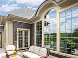 Andersen 400 Series Specialty Arch and Flexiframe window with Canvas exteriors and Colonial Grille