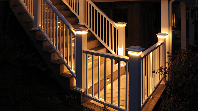 Deck Lighting, Outdoor Stair & Railing Lights - mann Lumber on window treatments for staircase, mirrors for staircase, led lighting for staircase, pendant lighting for staircase, flooring for staircase, lamps for staircase, glass for staircase, chandelier for staircase, books for staircase, ceiling lighting for staircase, light fixture for staircase, design for staircase, wall lights for staircase,